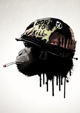 army military monkey chimp war peace helmet born kill full metal jacket movie digital illustration