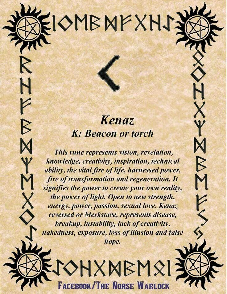 Kenaz Torch Phonetic Equivalent C As In Candle Divinatory