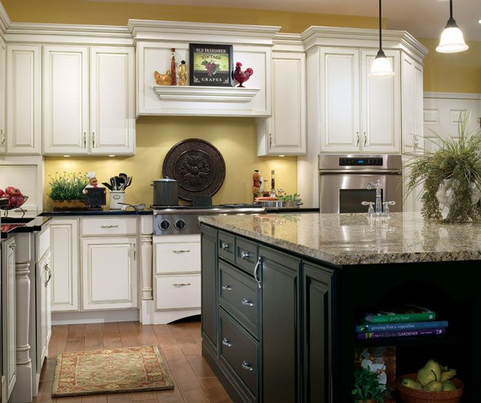Kitchen Island Accent Color: Off White Kitchen With Black Island Cabinets By Decora