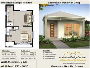 Small House Plan 45 Elton 537 Sq Foot ( 45.93 m2 ) 1
