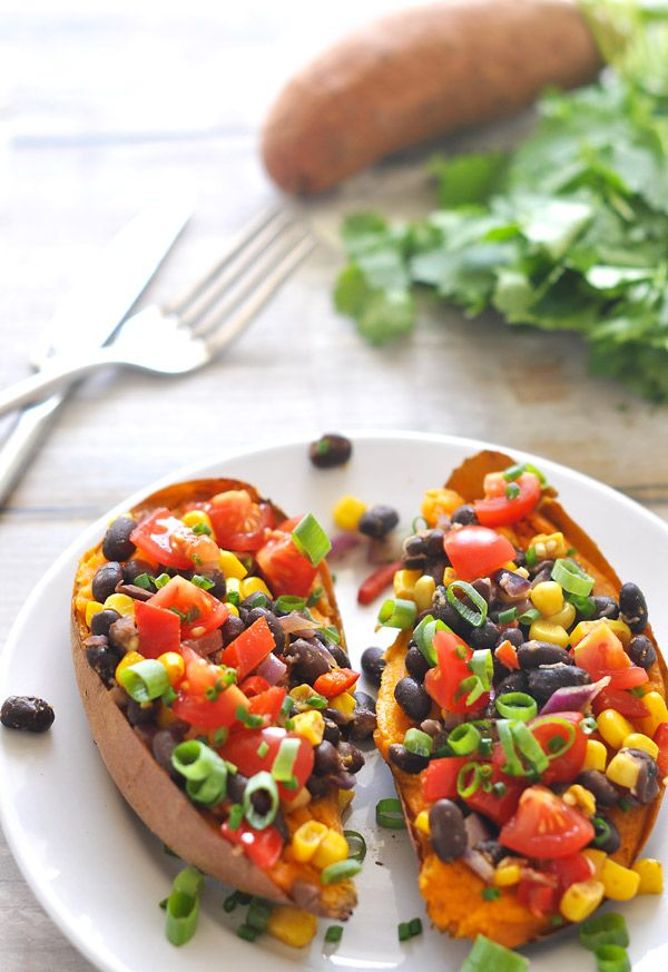 Loaded Sweet Potatoes -- these look amazing!
