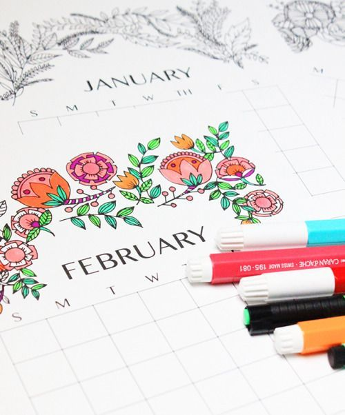 DIY Coloring Book Calendar Free Printable from Alisa Burke.For a roundup of 50 Free Printable 2016 Calendars from Lolly Jane go here. #50freeprintables DIY Coloring Book Calendar Free Printable from Alisa Burke.For a roundup of 50 Free Printable 2016 Calendars from Lolly Jane go here. #50freeprintables