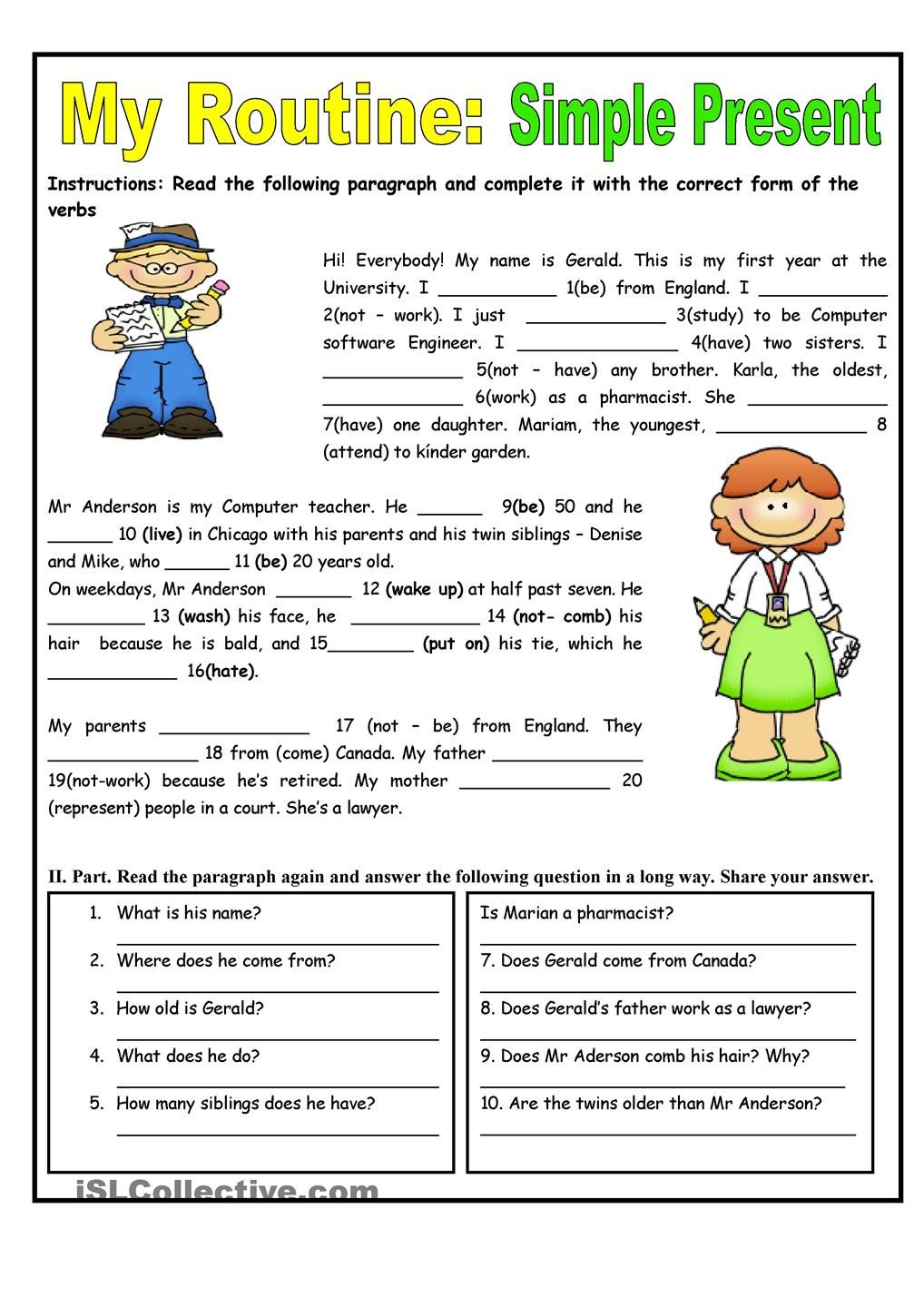 My Routine. Simple Present Tense - worksheet - kindergarten level ...