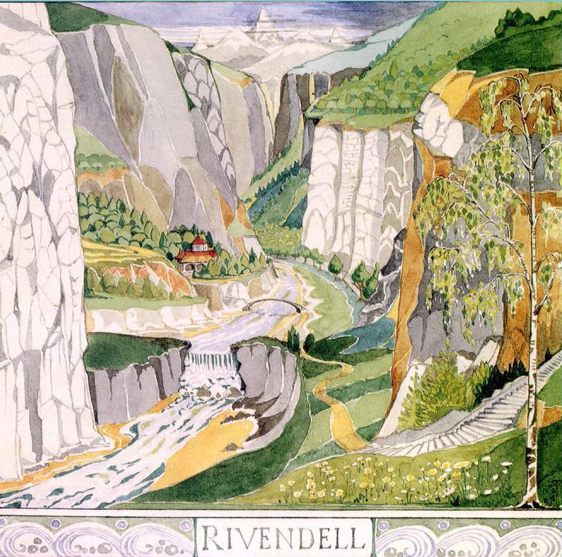 The Rivendell by JRRT, watercolor