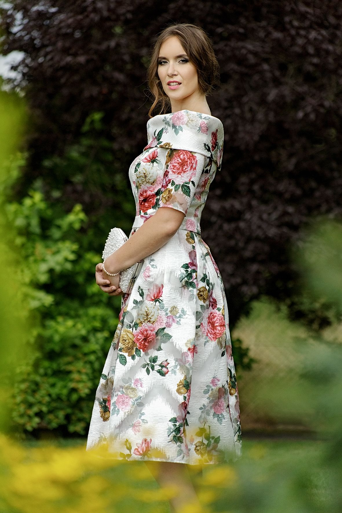 dad2a84a17239 Anoola Spring summer 2019 new mother of the bride occasion wear collection.  Gorgeous floral fit and flare dress with statement neckline.