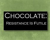 """Hand Painted 5.5 x 11 inch Solid Wood Sign Plaque with phrase """"Chocolate: Resistance is futile"""" - Great Gift Idea"""
