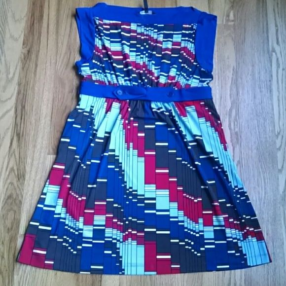 BCBG MaxAzria Summer Print Dress Beautiful combination of red, brown, dark blue and light blue. Excellent condition. BCBGMaxAzria Dresses