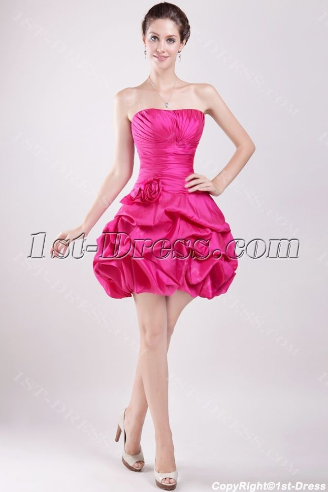 Fuchsia Short 15 Quinceanera Gown Dress with Sweetheart:1st-dress ...