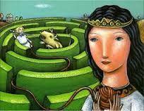 """Nel dialogo socratico Eutidemo, Platone fa parlare Socrate descrivendo la struttura labirintica del dialogo:""""Giunti all'arte di regnare ed esaminandola a fondo, per vedere se fosse quella a offrire e a produrre la felicità, caduti allora come in un labirinto, mentre credevamo di essere ormai alla fine risultò che eravamo ritornati come all'inizio della ricerca, e avevamo bisogno della stessa cosa che ci occorreva quando avevamo incominciato a cercare."""