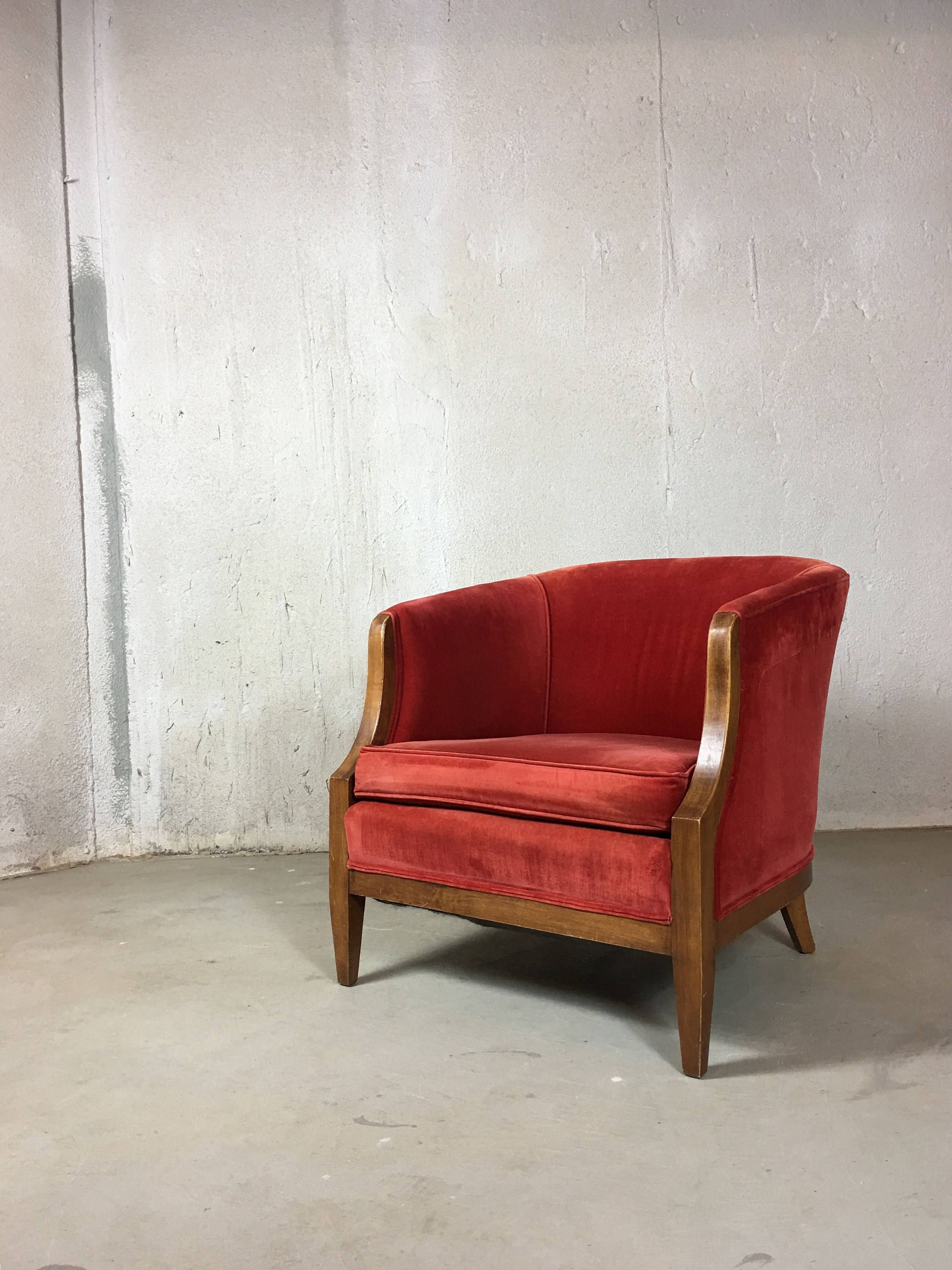 Red Velvet Living Room Chair, Tub Chair, Barrel Chair, Occasional ...