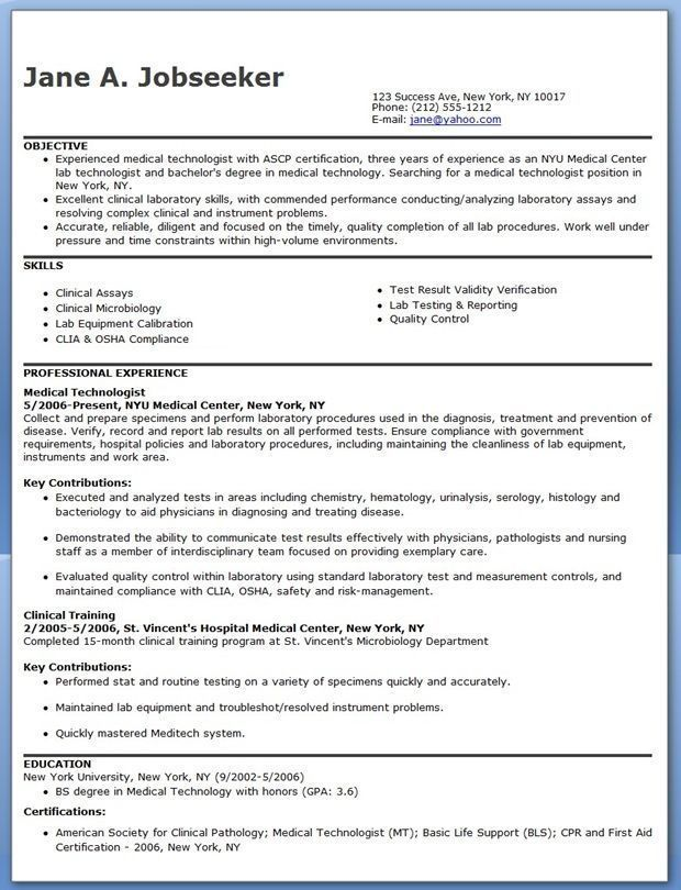 Medical Technician Resume Medical Technologist Resume Example  Resume Examples  Pinterest .