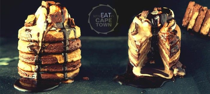chocolate-brownie-and-peanut-butter-pancakes. Vegan.