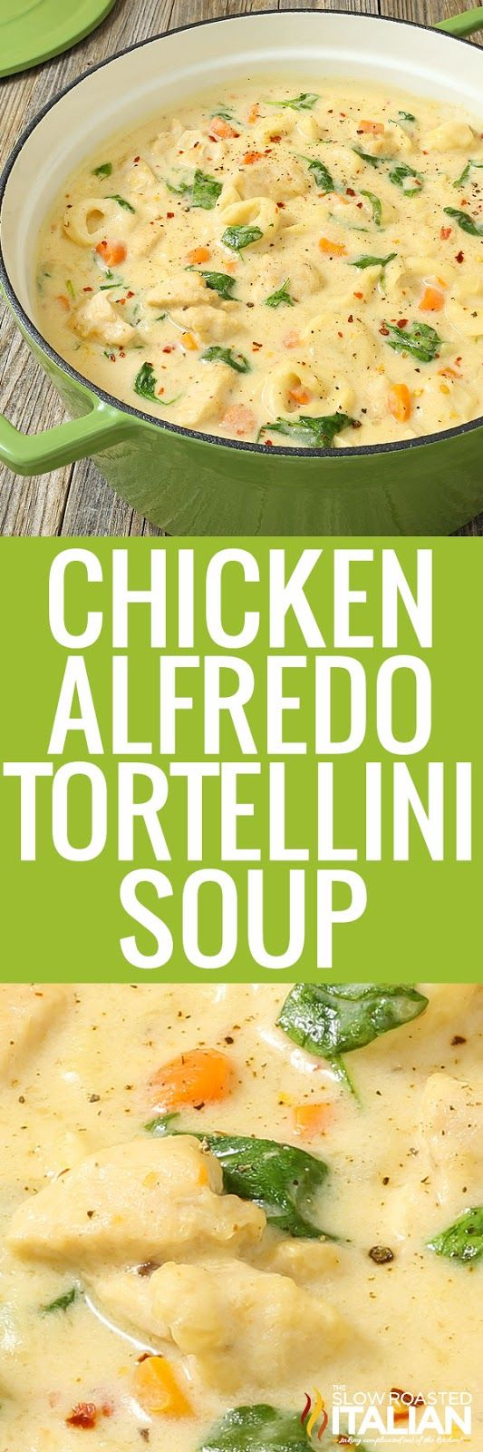 Chicken Alfredo Tortellini Soup is like your favorite chicken Alfredo recipe with vegetables in a rich and velvety soup. It is warm and comforting and utterly happy-dance inducing! #chickenalfredo