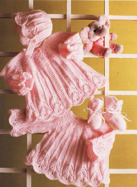 Vintage Baby Knitting Pattern Dress Coat Bootees And By Whitesatin