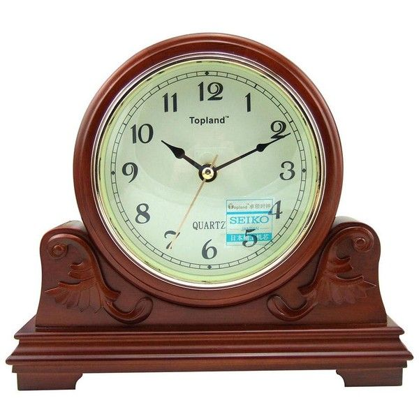 LNC Vintage Decor Wood 5 Inch Table Clock Brown Japan Seiko Movement ($188)  ❤ Liked On Polyvore Featuring Home, Home Decor, Clocks, Vintage Mantel Clock,  ...