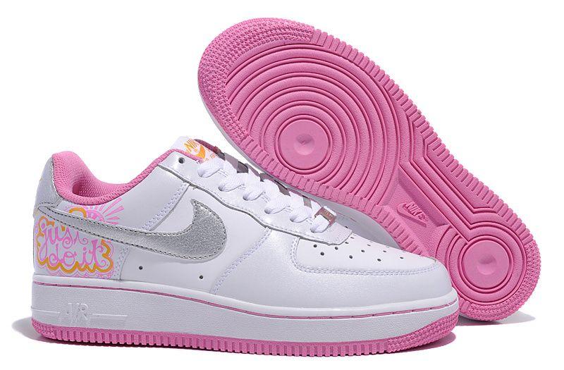 Nike Air Force 1 Des Femmes De Fleurs Roses Et Blanches