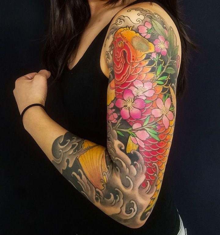 Koi Fish Sleeve By Adam Sky Resolution Tattoo San Francisco California