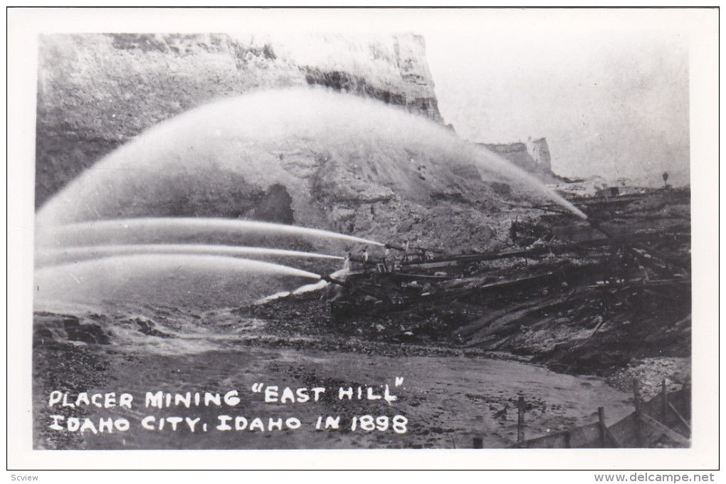 "RP: Placer Mining ""East Hill"" , IDAHO CITY , Idaho 1898 : 30-40s era postcard - Delcampe.com"