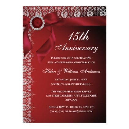 Red Ruby Bow 15th Wedding Anniversary Invitation Wedding - anniversary invitation
