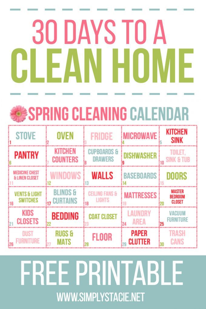 30 Day Spring Cleaning Calendar Cleaning calendar, Calendar - sample spring cleaning checklist