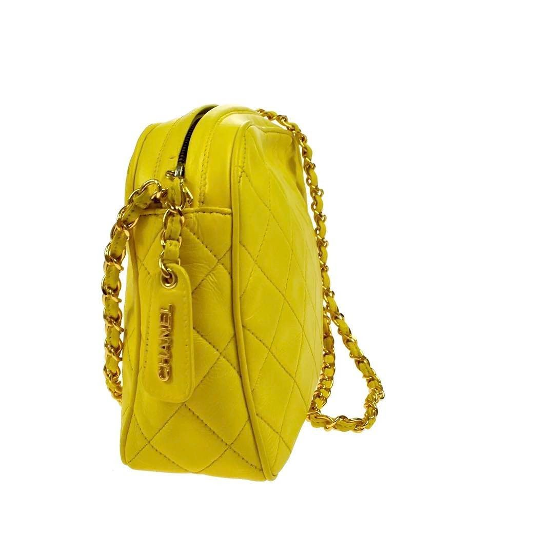 6d64ffeb07ac Chanel bright yellow crossbody lambskin bag excellent vintage condition  measures 9 x 7.5 x 3