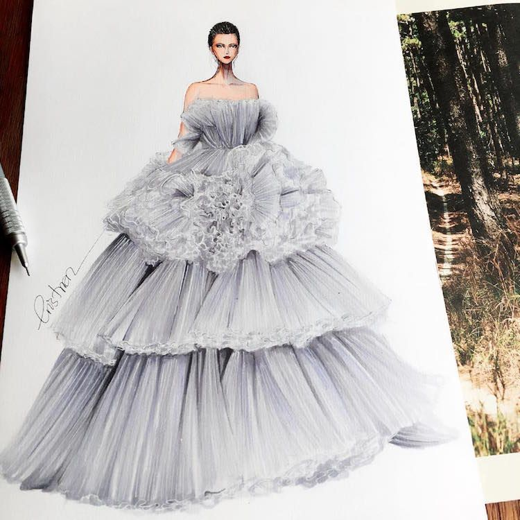 Photo of Fashion Designer Illustrates Gorgeous Gowns in Enchanting Detail