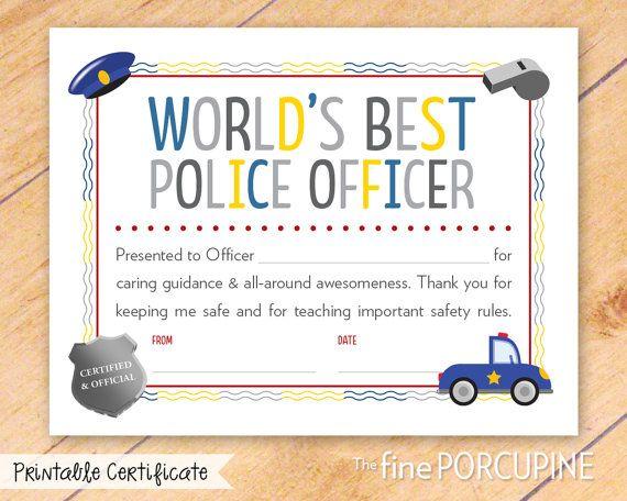 Police Officer Certificate, Printable, World\'s Best Police Officer ...