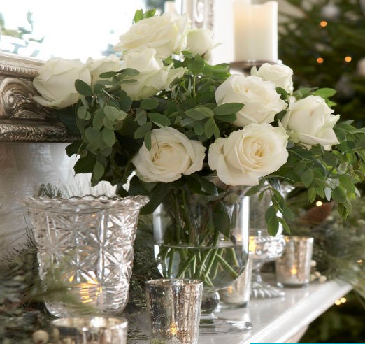 Crystal Vase White Roses Mantle Candles Country Style