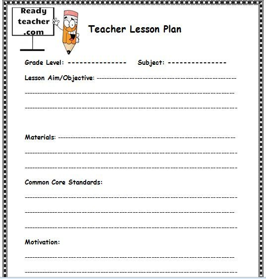 Lesson Plan Templates Word  Lesson Plan Templates