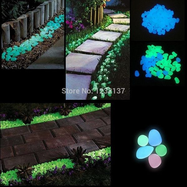 10Pcs Glow In The Dark Stones Pebbles Rock Aquarium Fish Tank Garden Walk Decor