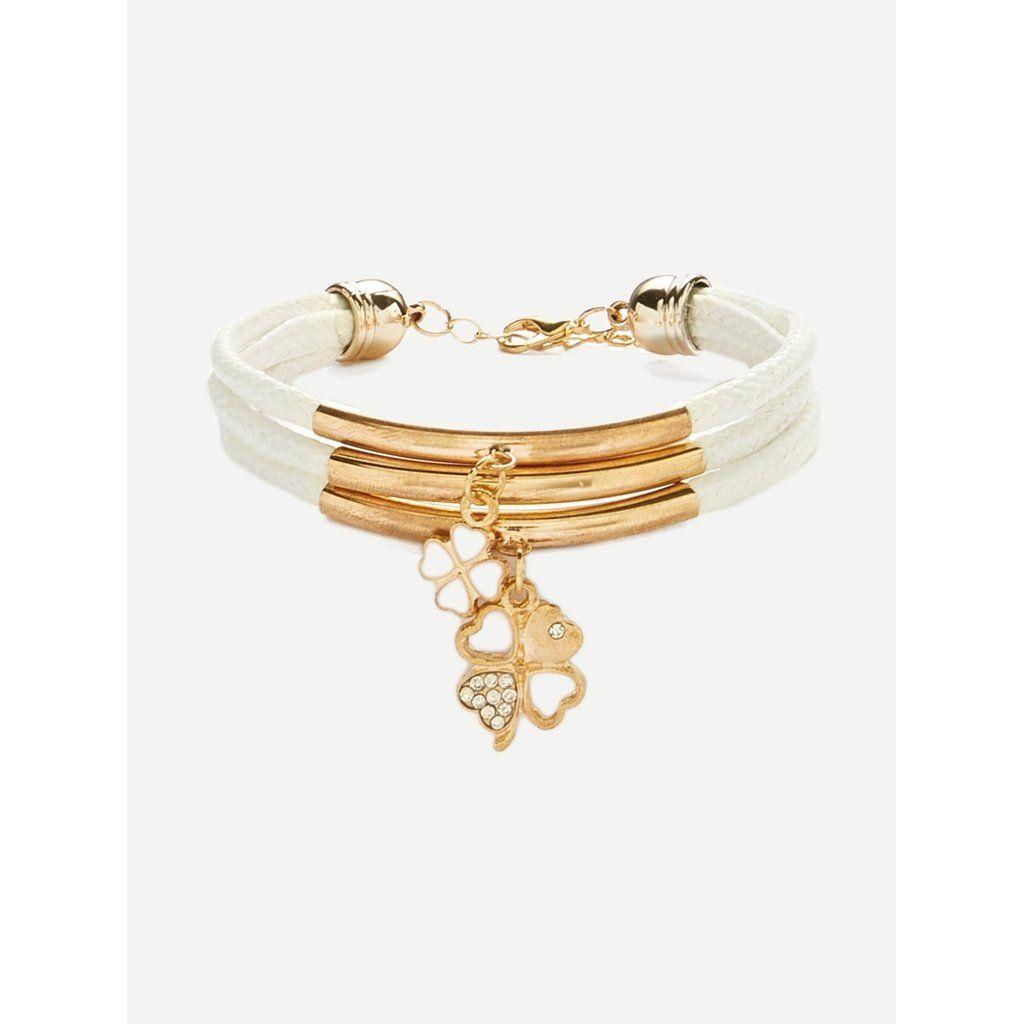 Clover design layered bracelet fashion women men casual classy