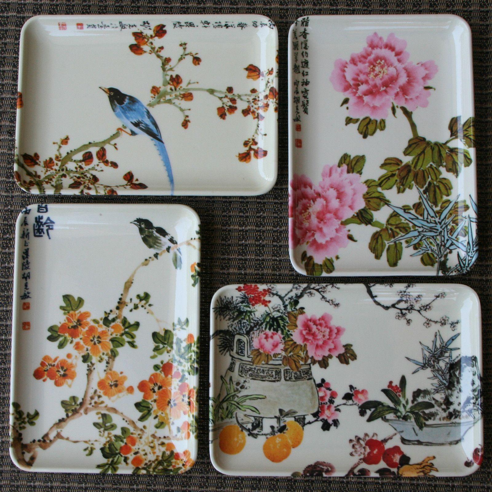 Details About Vintage Decorative Crafts Inc Set Of 4 Plates Trays