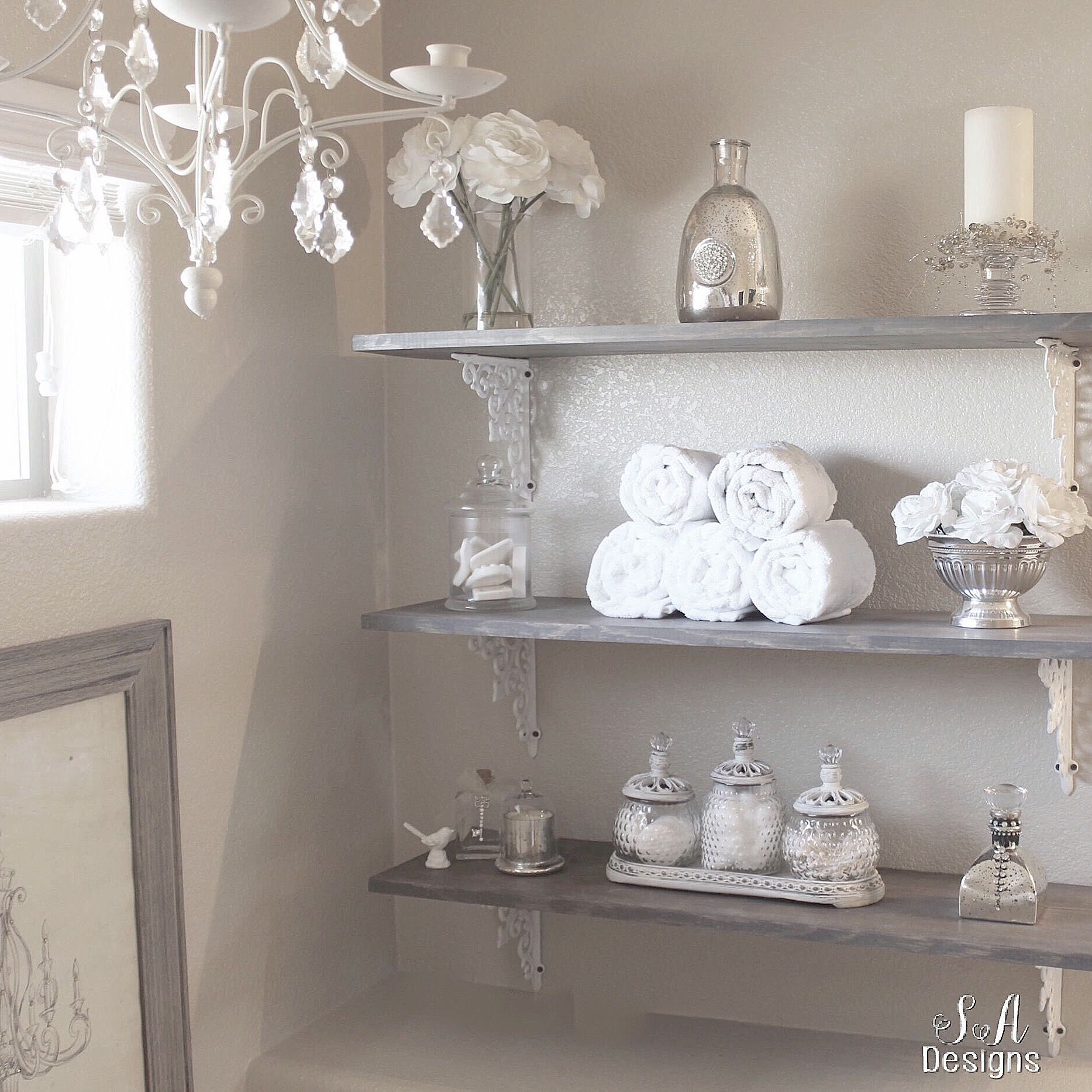 DIY master bathroom shelving with a rustic glam feel ...