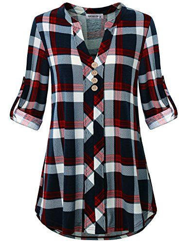 d16599f77da294 Beautiful MOQIVGI Womens Roll Tab Sleeve V Neck Plaid Shirts Trendy Casual  Checkered Blouse Tops Women