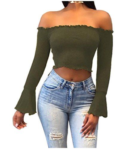 451f8c2e5d2 Comfy Womens Boat Neck Cut Out Shoulder Sexy Crop Top Skinny Shirts ...
