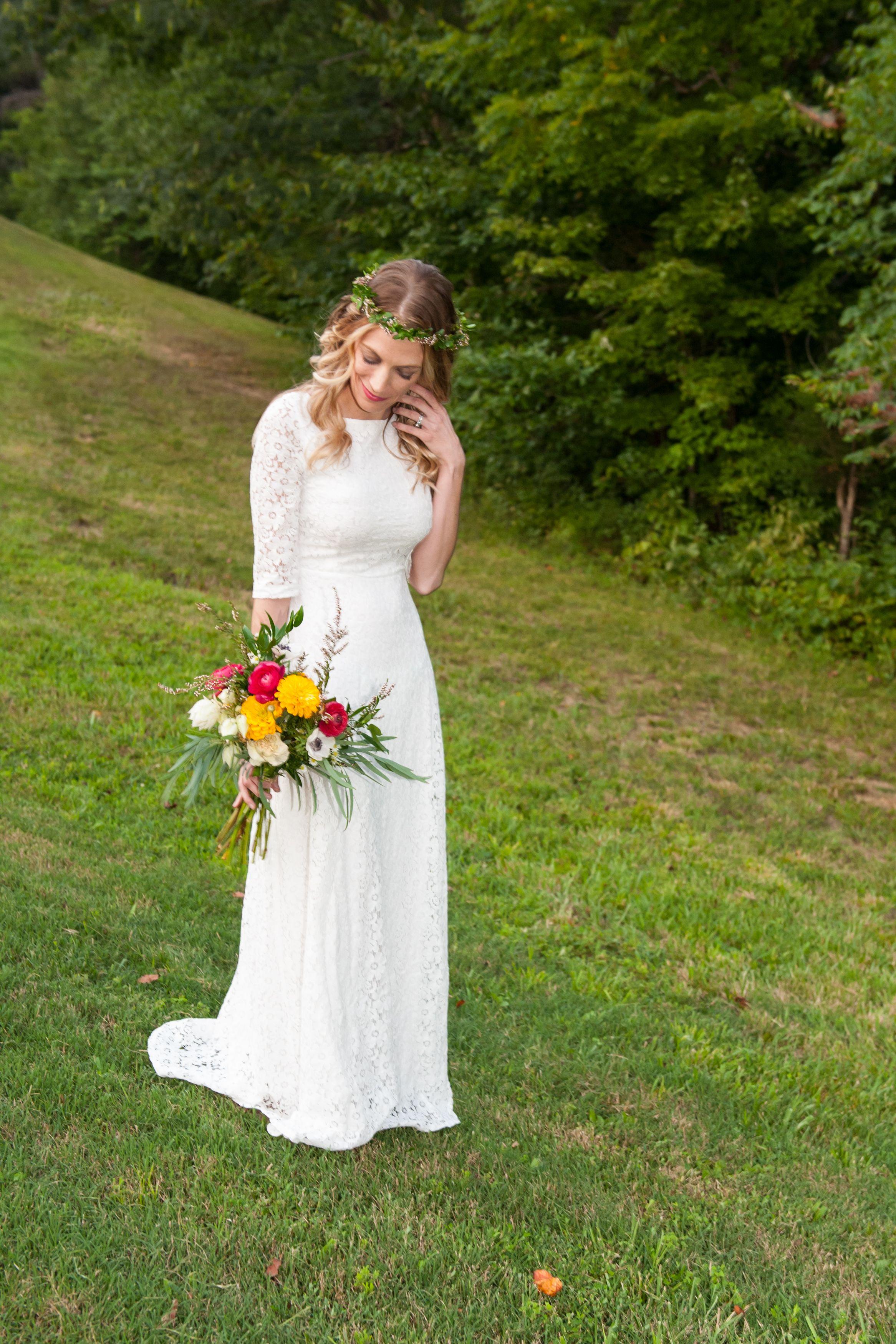 year vow renewal dress found on amazon modern boho bouquet