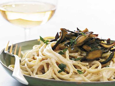 Chloe's Vegan Italian Kitchen Recipe: You-Won't-Be-Single-for-Long Pasta Carbonara with Shiitake Bacon