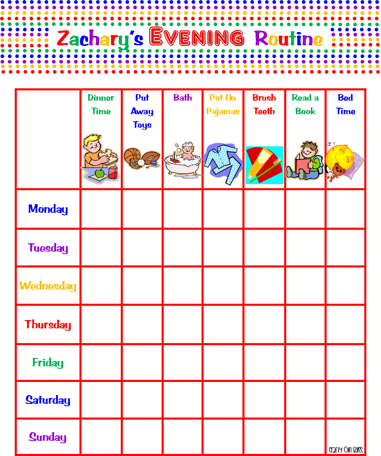 Crafty Bliss Morning Evening Routine Charts For My 2 Year Old