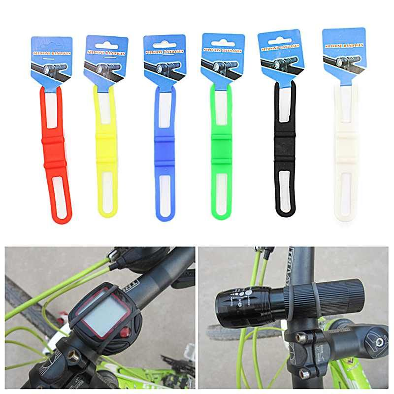 Silicone Elastic Bandage Bicycle Handlebar Flashlight Holder Torch Strap Mount