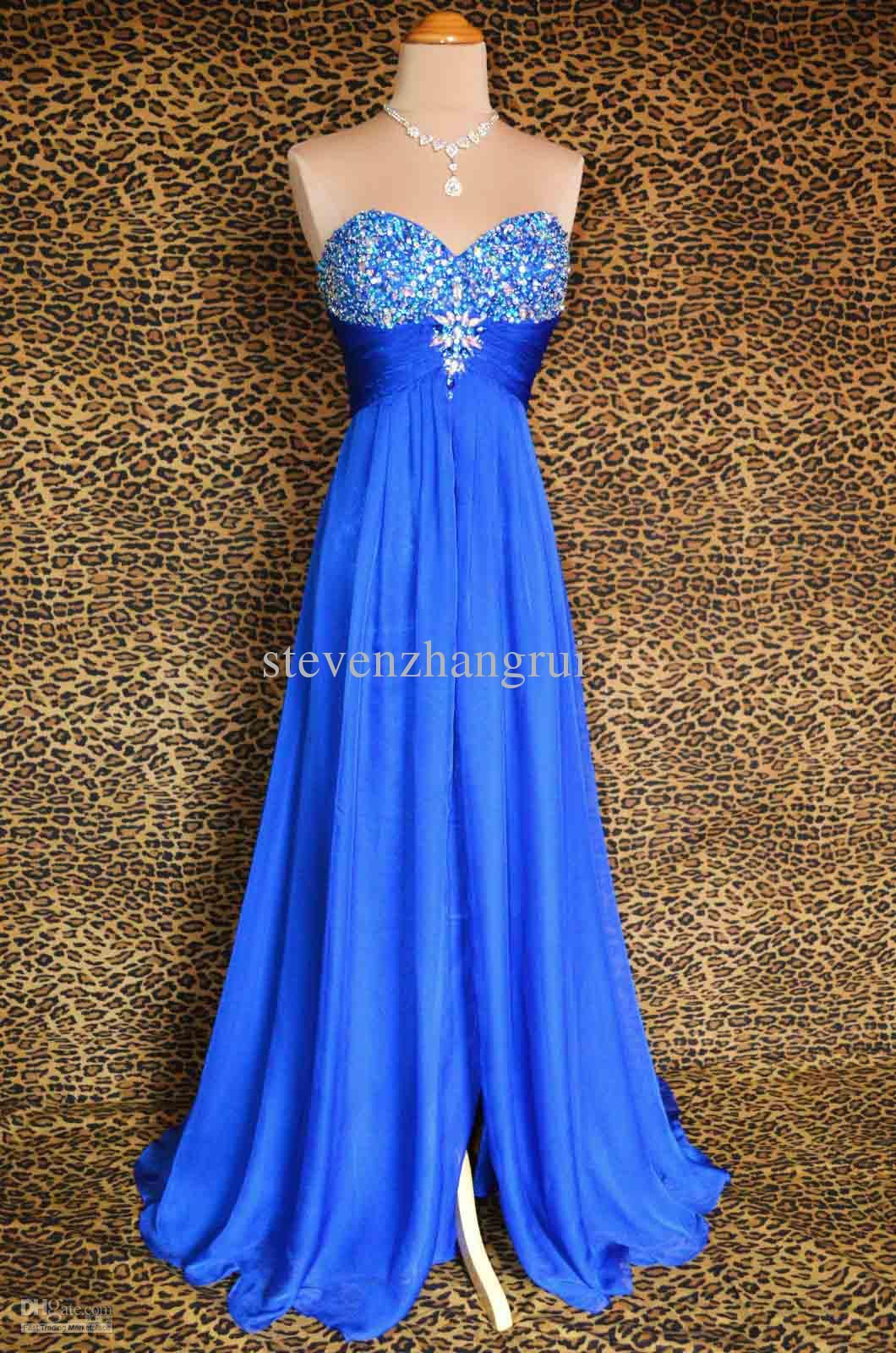 New style sexy royal blue evening dresses aline strapless beaded