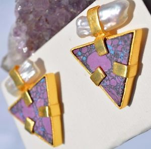 Saachi  Purple druzy earrings with  Fresh Water pearl  Gold Plated post backs