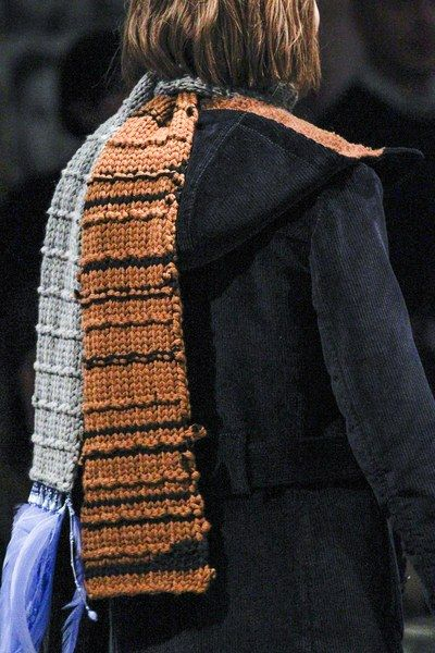 9f161f2c7f9 Chunky knit scarf with color blocking and beaded feather fringe. Prada Fall  2017 Ready-to-Wear collection.