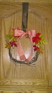 Welcome to Scrappin' Cat's Creative Endeavors: Fall wreaths over cabinet doors