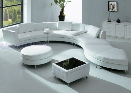 Modern Furniture White Leather Sectional Sofa with Ottoman and Mini Bar-table Set
