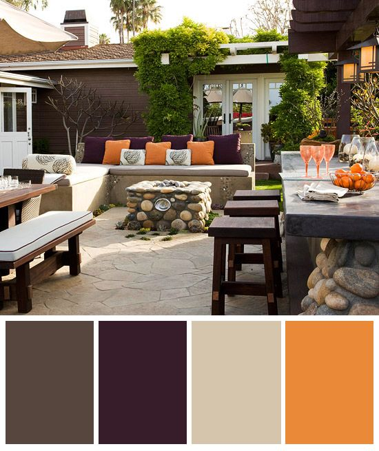 Colorful Outdoor Rooms: Outdoors - Deep Purple, Orange And Neutrals