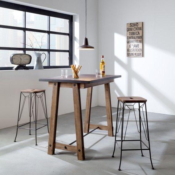 Bartisch Beton - Akazie teilmassiv \/ Beton Dekor Home24 Küche - bartische für küche