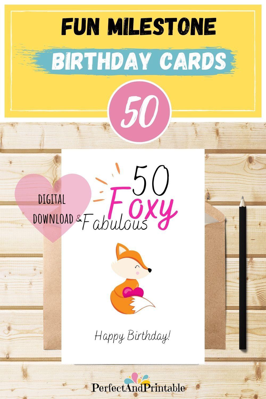 50th Birthday Fabulous Foxy Fun Card For Her Bright Etsy Birthday Cards For Her 50th Birthday Cards Birthday Cards