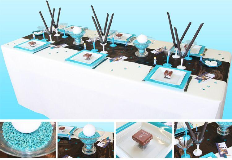 Deco table communion garcon bleu – Table de lit a roulettes