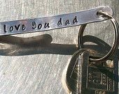 Personalized Hand Stamped Dad Mens Fathers day or Womens Mom Pocket Keychain Hanger Foldover
