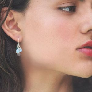 Triste. 3 tears moonstone earrings. Three moonstone tear drops, sterling silver earrings. EX.. wh MimsyB.